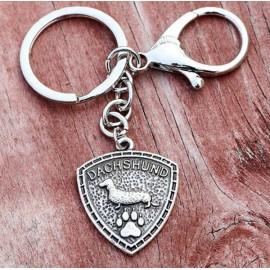 Tacsis fém kulcstartó Dachshund felirattal
