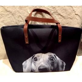 Nagyméretű tacsis női táska - fekete