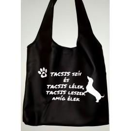 Műbőr fekete női táska tacsi rajongóknak